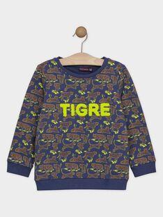 PULL à motif tigres coloris bleu ardoise. SAVANAGE / 19H3PG61SWEC203