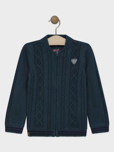 Gilet vert anglais en tricot garçon SAZIPAGE / 19H3PGC1GILG625