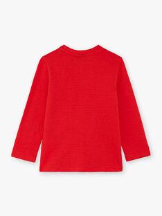 T-shirt manches longues côtelé rouge enfant garçon BUTILAGE2 / 21H3PGB4TML050