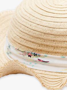 Chapeau de paille avec ruban imprimé enfant fille ZYPOBETTE / 21E4PFU2CHA009