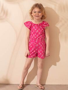 Salopette courte de plage rose fuchsia enfant fille ZAOKIETTE / 21E2PFQ1SAC304