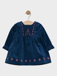 Robe en velours bleu bébé fille  SAPASCALE / 19H1BFI2ROB714