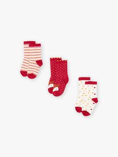 Lot de 3 paires de chaussettes assorties enfant fille BROFUETTE / 21H4PFB1LC3001