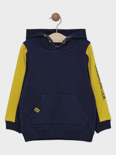HAUT DE JOGGING à capuche coloris bleu glacier et jaune moutarde  SABENAGE-1 / 19H3PGD2SWE219