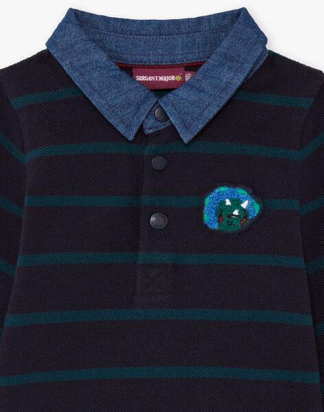 Polo manches longues bleu à rayures brodé bébé garçon BAJORGE / 21H1BG91POL715