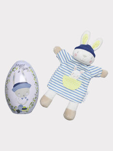 Œuf de Pâques bleu ciel en métal et peluche bébé garçon THEO / 20E4BGU1JOU001