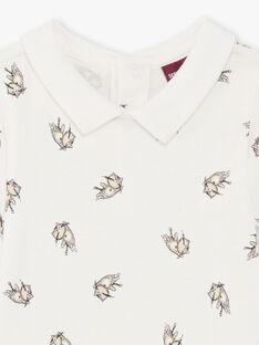 Body blanc col chemise imprimé chaton bébé garçon BADUNCANEX / 21H1BG22BOD632