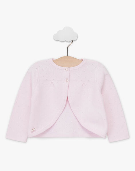 Cardigan boléro rose pâle en tricot fantaisie bébé fille TALARA / 20E1BFJ3CAR321