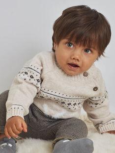 Pull jacquard beige chiné motif lapin bébé garçon BASEANNY / 21H1BGO1PULA011