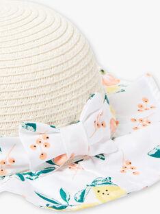 Chapeau en paille bi-matièreimprimés citrons et fleurs bébé fille ZANAE / 21E4BFO1CHA801