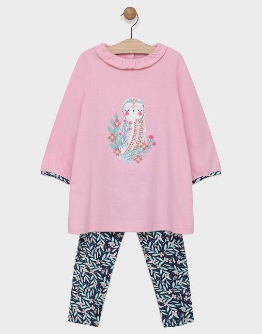 Chemise de nuit en jersey rose et bas imprimé petite fille SYVILETTE / 19H5PF52CHND309