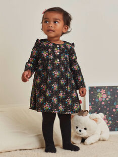 Robe noire manches longues imprimé fleuri bébé fille BAMAUD / 21H1BFM2ROB090