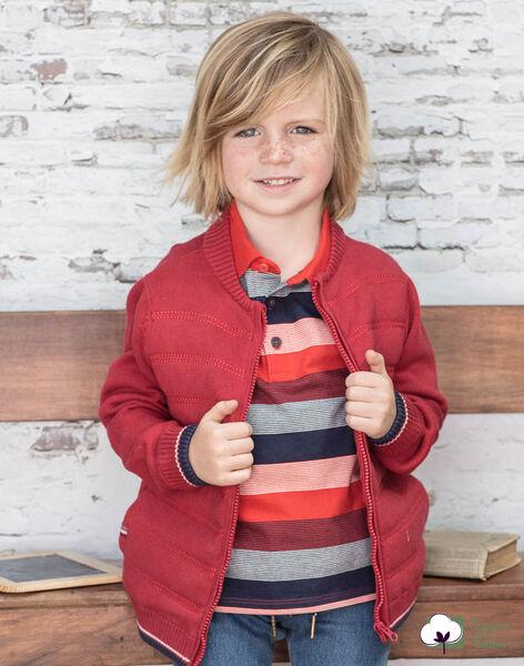 Gilet manches longues en maille rouge enfant garçon BUXATAGE3 / 21H3PGB1GIL501