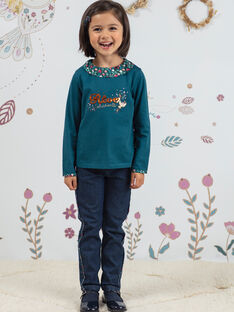 Jean brut détails imprimé fleuri enfant fille BOJANETTE / 21H2PF91JEAP271