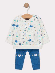 Ensemble bébé garçon : sweat imprimé et pantalon en côte  TAEDMOND / 20E1BGD1ENS001