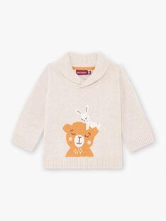 Pull beige motif ourson et lapin bébé garçon BALOUIS / 21H1BGJ1PUL811