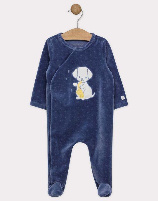 Dors bien en velours dévoré bleu et son bonnet bébé garçon SYBIXENTE B / 19H0NGM4GREC203