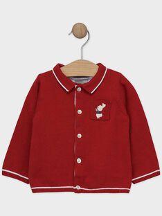 Gilet bébé garçon en tricot rouge  SAWILEY / 19H1BGP1GIL050