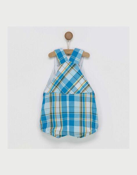 Barboteuse bleue à carreaux brodée bébé garçon RAWILLY / 19E1BGQ1BAR215