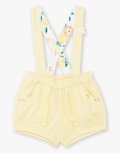Short jaune à bretelles brodé bébé fille ZANETTY / 21E1BFO1SHOB104