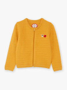 Cardigan maille manches longues jaune brodé enfant fille BILAETTE / 21H2PF51CAR109