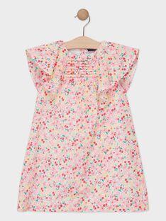 Robe rose imprimé fleuri fille.   TUDILETTE / 20E2PFH2ROB001