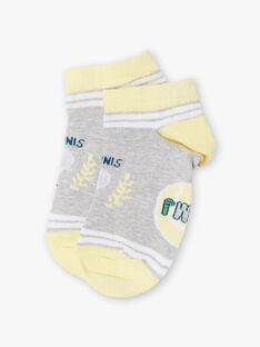 Chaussettes gris chiné et jaunes enfant garçon ZETRAGE / 21E4PGO1SOBJ920