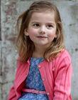 Cardigan en maille ajourée rose enfant fille ZUCAYETTE / 21E2PFT1CARD313