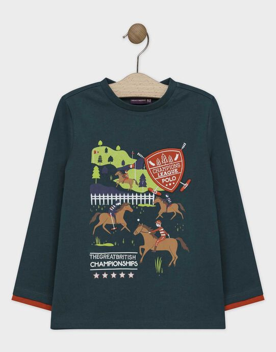 Tee-shirt à manches longues vert anglais imprimé garçon SATELAGE / 19H3PGC1TMLG625
