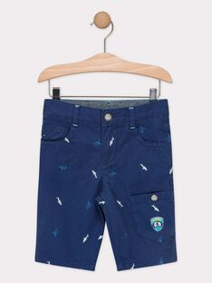 Bermuda bleu brodé petits requins garçon  TEBERMAGE / 20E3PGD3BERC203