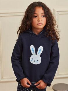 Sweat bleu marine motif lapin à sequins réversibles enfant fille BROZOETTE / 21H2PFF1SWE070