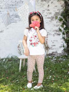 Legging écru imprimé fleuri enfant fille BAZEGETTE / 21H4PF11CAL001