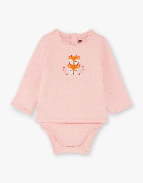 Body manches longues rose imprimé renards bébé fille BAISIS / 21H1BFJ2BODD314