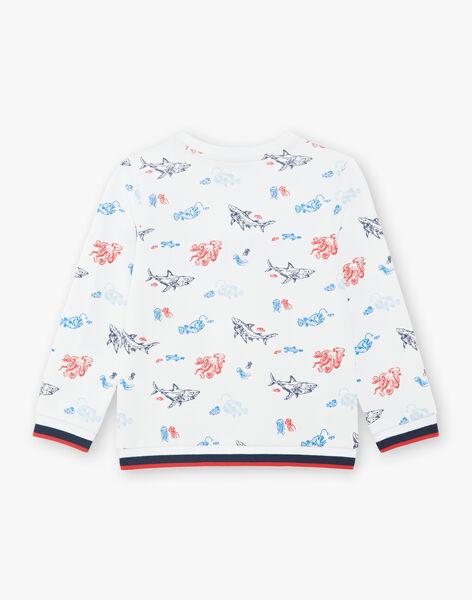 Sweatshirt blanc imprimé coloré all-over enfant garçon ZISOULAGE / 21E3PGT1SWE000