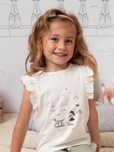 T-shirt écru manches courtes détails dentelle enfant fille BETOETTE / 21H2PF21TMC001
