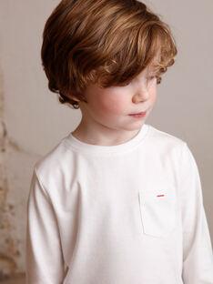 T-shirt blanc manches longues et détail poche enfant garçon ZAZOAGE2 / 21E3PGK2TML001