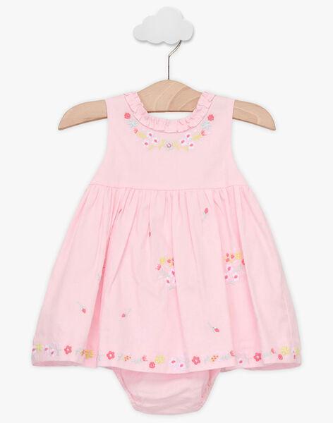 Robe rose pâle brodée et bloomer bébé fille TALOISE / 20E1BFJ1CHS321
