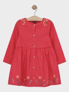 Robe rose manches longues fille TAVIETTE / 20E2PFB2ROB310