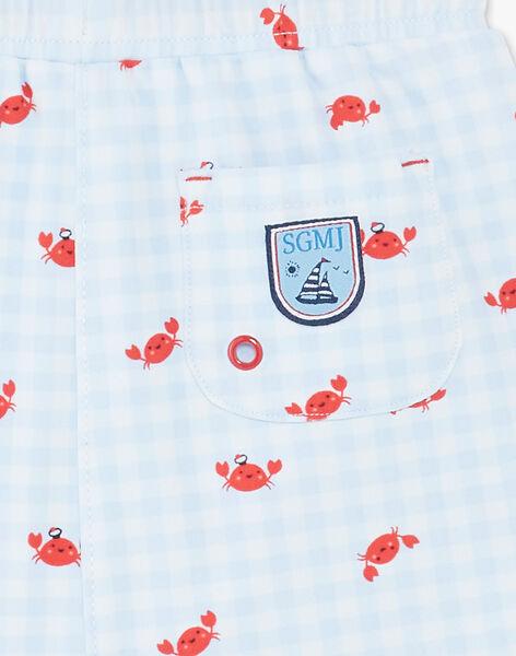 Short de bain à carreaux imprimé crabe bébé garçon ZIRAOUL / 21E4BGR2MAI213