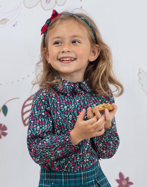 Chemisier manches longues bleu canard à imprimé fleuri col montant enfant fille BOMETTE / 21H2PF91CHE714