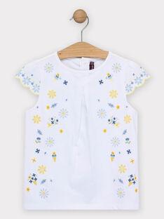 T-shirt écru fleuri fille  TOIPIETTE / 20E2PFO1TMC000