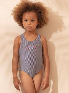 Maillot de bain 1 pièce bleu en seersucker à rayures enfant fille ZAINETTE / 21E4PFX1D4K632