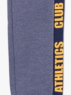 Pantalon de jogging bleu chiné à détails contrastés enfant garçon ZEBALAGE2 / 21E3PGK3JGB222