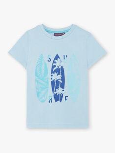 T-shirt manches courtes bleu imprimé surf enfant garçon ZUZAGE4 / 21E3PGL4TMC020