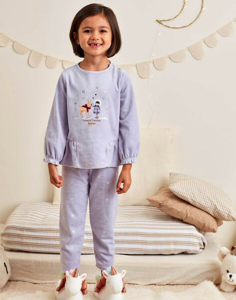 Ensemble pyjama bleu lavande motif fantaisie enfant fille BEBACIETTE / 21H5PF72PYJ326