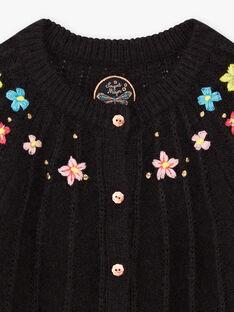 Cardigan en maille noir à broderies fleuries enfant fille BRICADETTE / 21H2PFM2CAR090