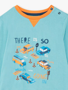 Pyjama manches longues turquoise à motifs voitures et circulation enfant garçon BECARAGE / 21H5PG67PYJ202