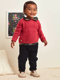 Pantalon noir en velours côtelé nœud bébé fille BAMAELLE / 21H1BFM1PAN090