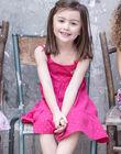 Robe à bretelles rose fuchsia à motifs dorés enfant fille ZROBETTE 3 / 21E2PFW4RBS304