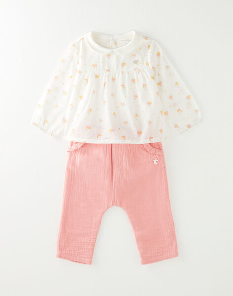 Ensemble body, pantalon et chaussettes bébé fille  VITALIE / 20H0CF13ENS030